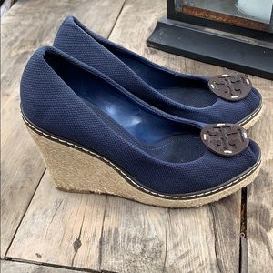 Tory Burch Canvas wedge shoes size 9.